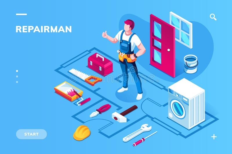 Home repairman and building maintenance tool. Home repairman and building maintenance instruments. Isometric worker in uniform for indoor house renovation and royalty free illustration