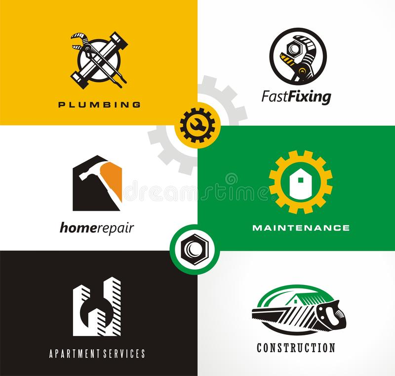 Home repairs and apartment services logo. Home repairs and apartment services logo designs set. Plumbing, fixing, maintenance symbols, icons and design elements royalty free illustration