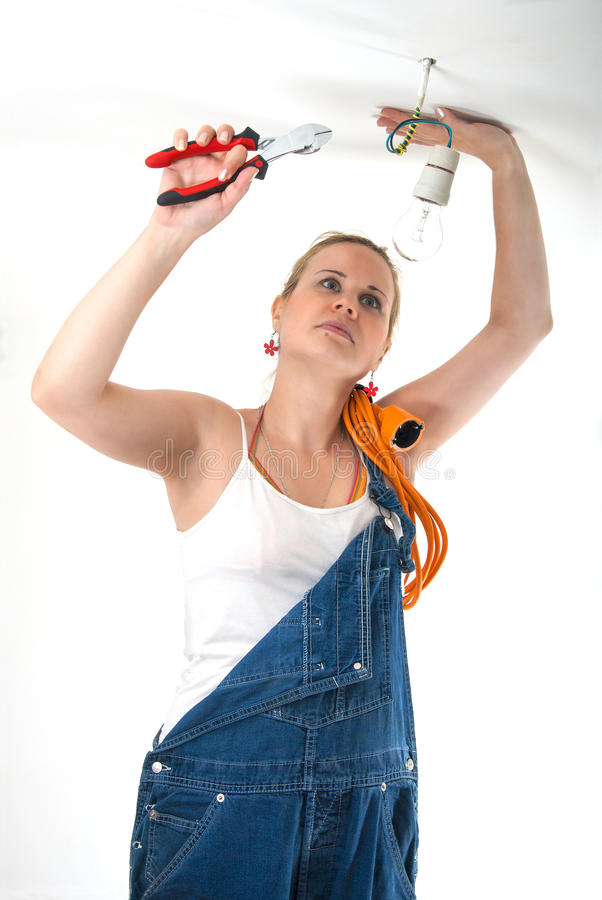 Home repairs - Electrician stock photos
