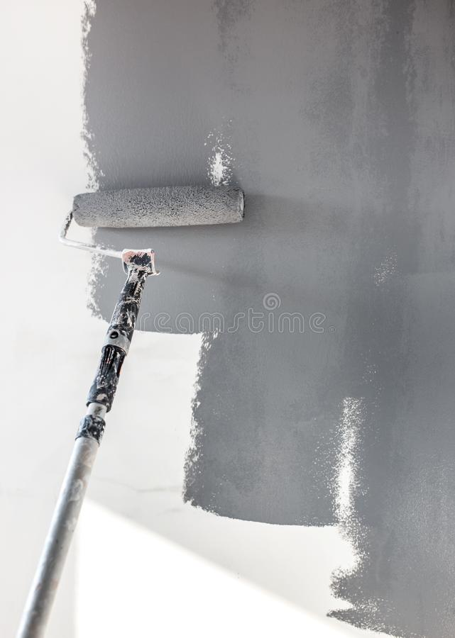 Home repairs. Painting the walls of the room in gray with a paint roller stock images