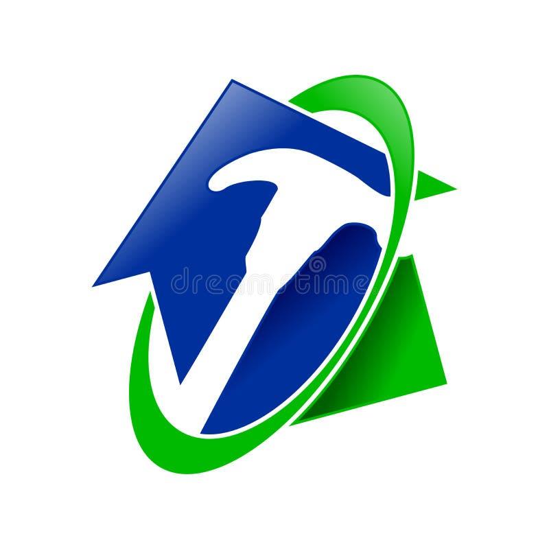 Home Restoration Service Symbol Design. Home Restoration Service Swoosh Hammer Vector Symbol Graphic Logo Design Template royalty free illustration