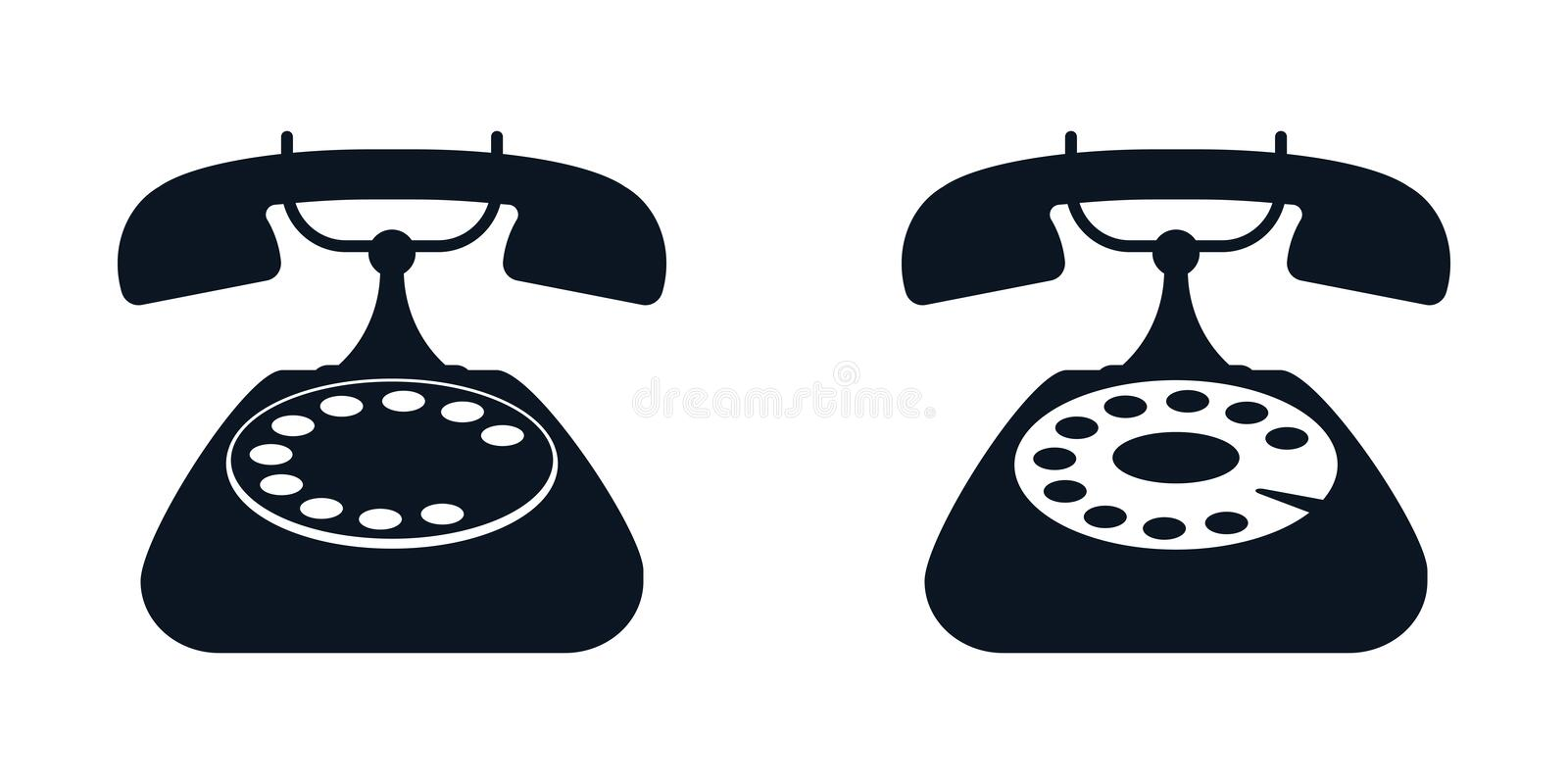 Home retro rotary phone, black icon on white background. Vector royalty free illustration