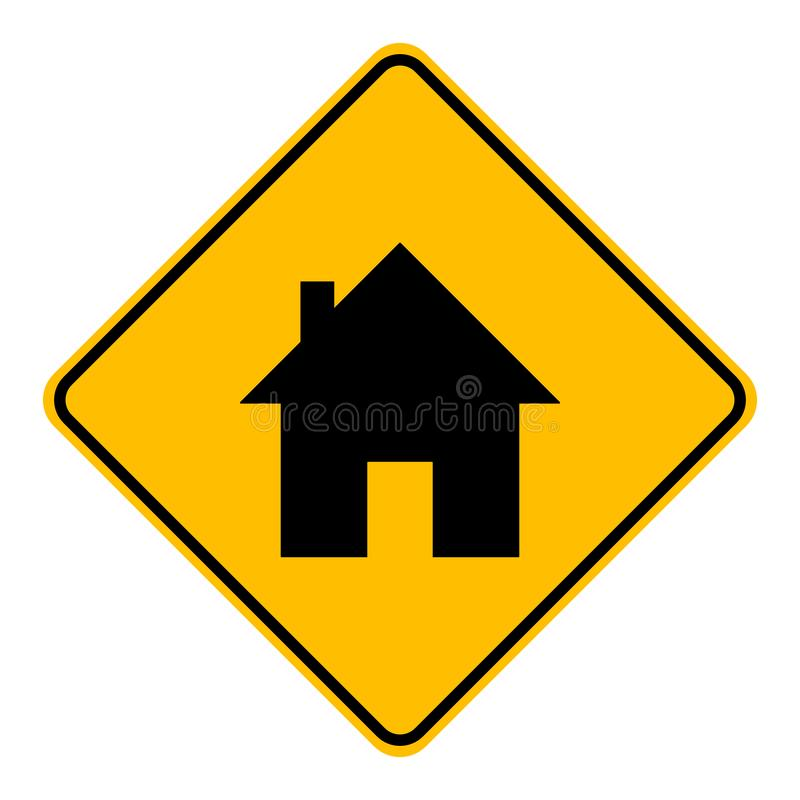Home and road sign. As vector illustration stock illustration