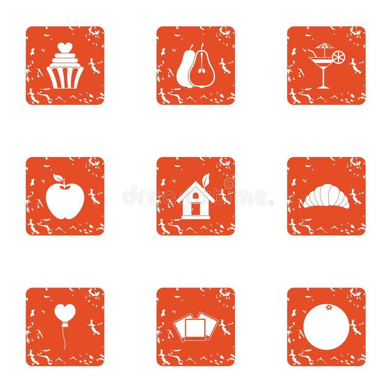 Home romance icons set, grunge style. Home romance icons set. Grunge set of 9 home romance vector icons for web isolated on white background vector illustration