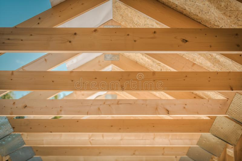 Home Roof Wood Beams royalty free stock photos