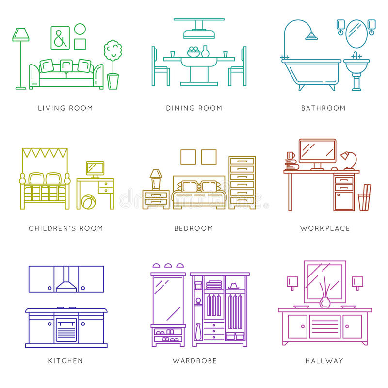 Home rooms interior in linear style. Vector icons vector illustration