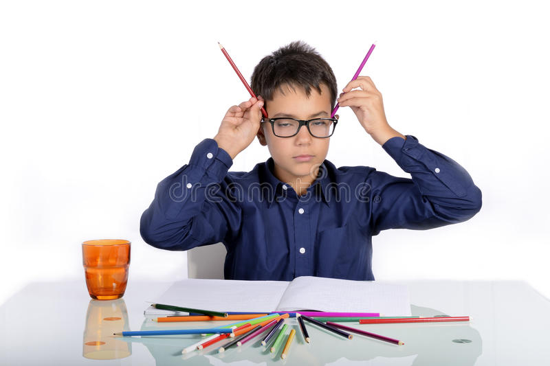 At home it's time to do homework. royalty free stock images