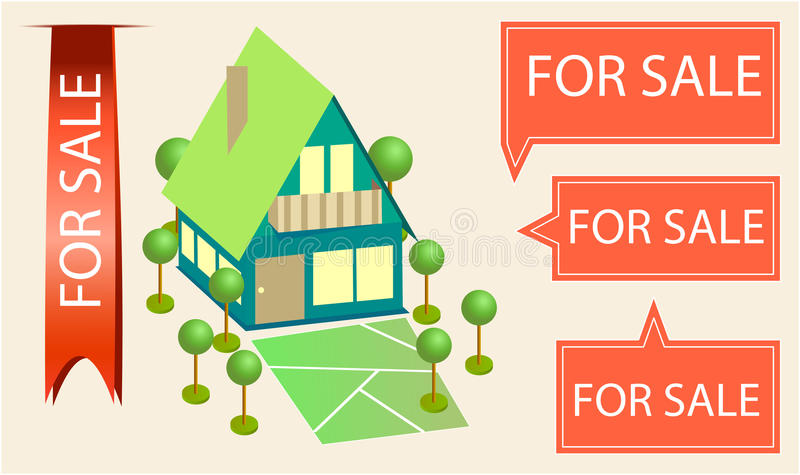 Home for sale. With for sale signs and ribbon stock illustration