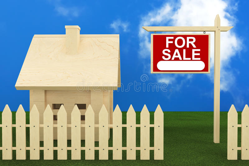 Home For Sale. Sign with Beautiful Wooden House royalty free illustration