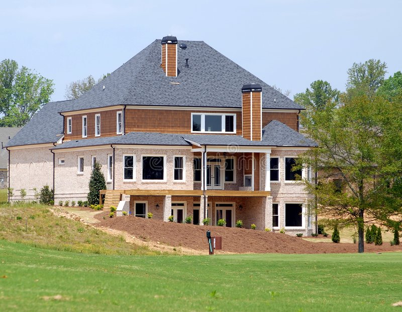Home for sale on golf course. Photographed home being constructed on golf course in Georgia stock image