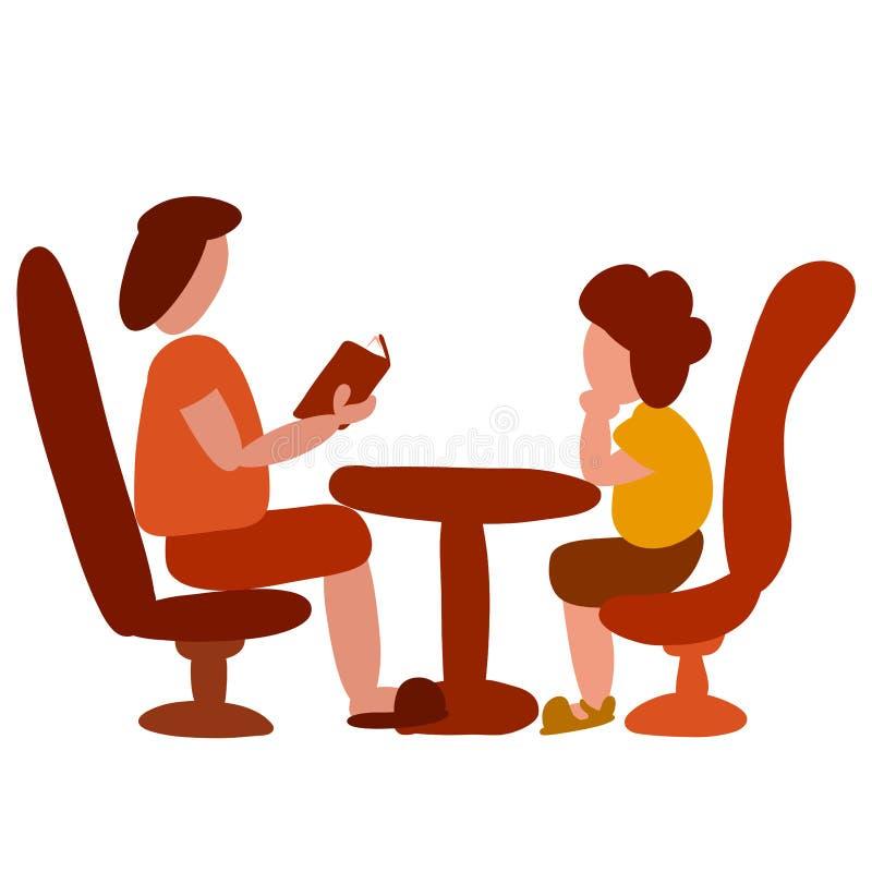 Home school ή leisure, ο γονέας διαβάζει βιβλίο σε παιδί ελεύθερη απεικόνιση δικαιώματος