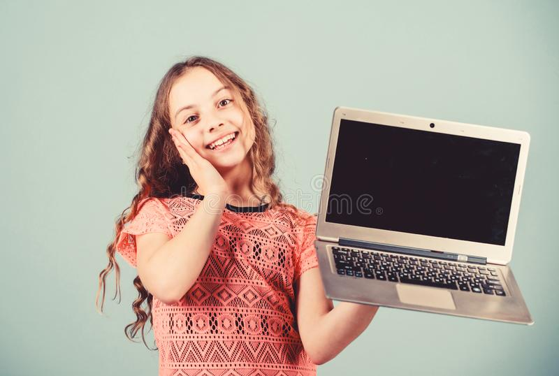 Home schooling education. happy small girl with notebook. shopping online. school project. child development in digital. Age. video call by web cam. business royalty free stock photos