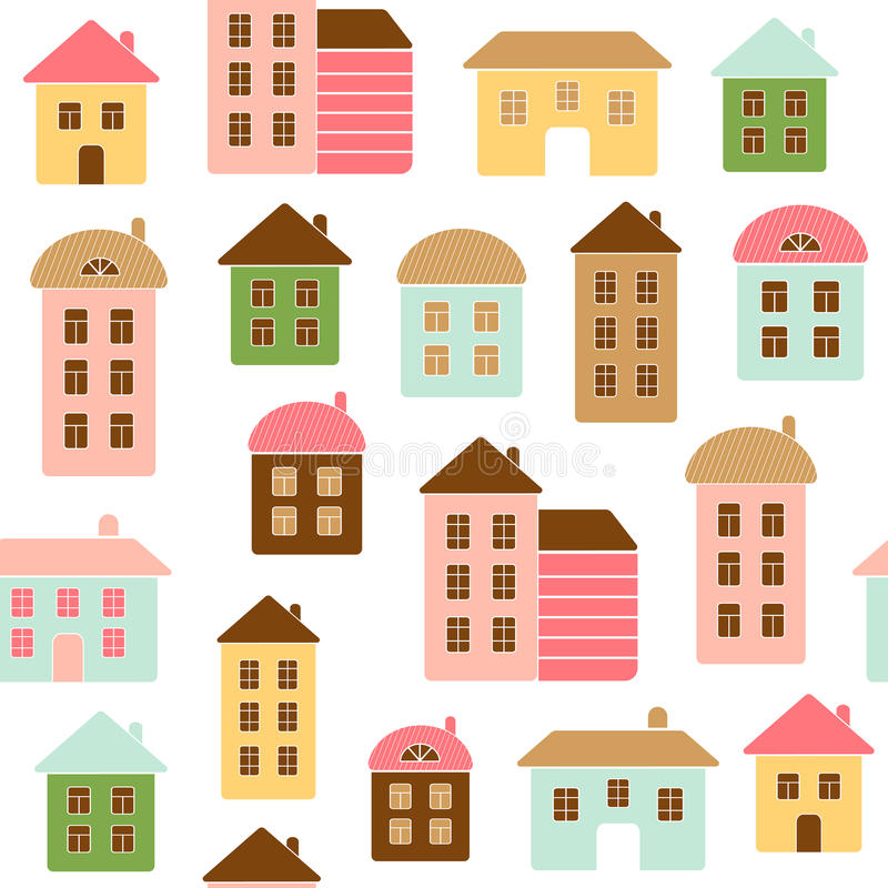Home seamless pattern. The pattern can be repeated or tiled without any visible seams stock illustration