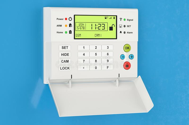 Home security alarm system on the blue wall, 3D rendering stock illustration