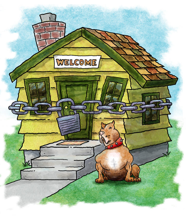 Home Security. Cartoon illustration of dog guarding locked house