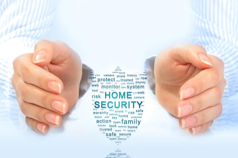 Home security concept. Cloud of security tags royalty free stock image