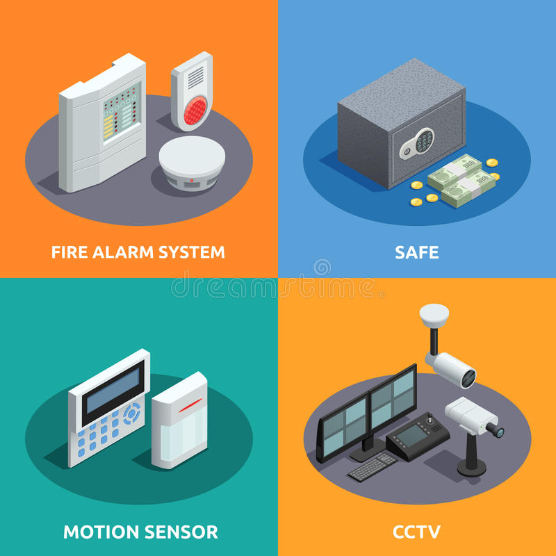 Free Home Security Isometric 4 Icons Square Royalty Free Stock Images - 73269529
