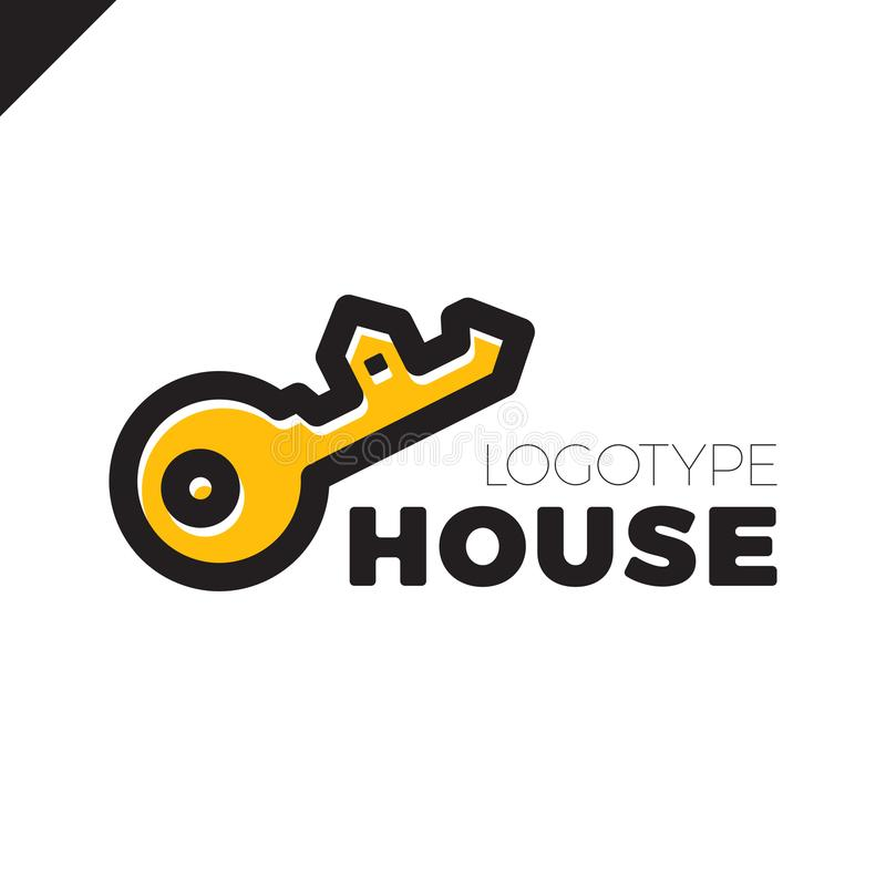 Home Security Key House Logo Outline Design Stock Vector ...