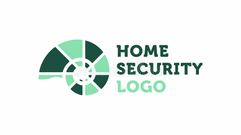 Home-security-logo. Home security logo with the fossil icon and logo text. Modern flat design stock illustration