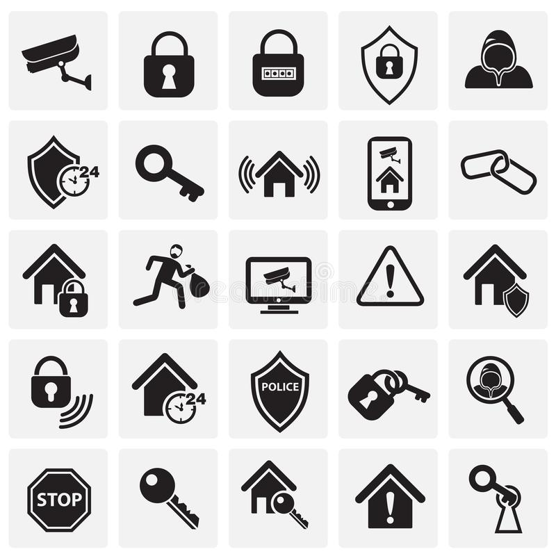 Home security set on squares background royalty free illustration