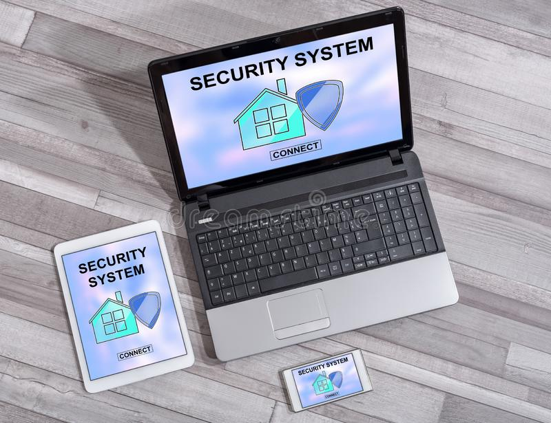 Home security system concept on different devices. Home security system concept shown on different information technology devices royalty free stock photos