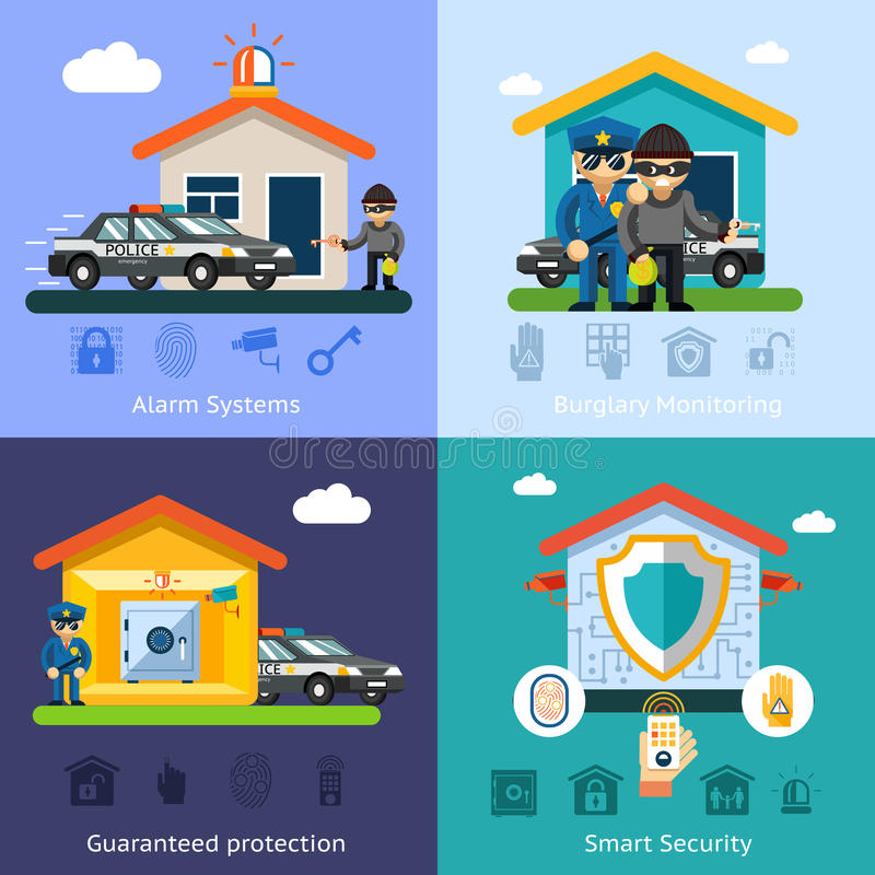 Download Home Security System Flat Vector Background Stock Vector    Illustration Of Element, Access: