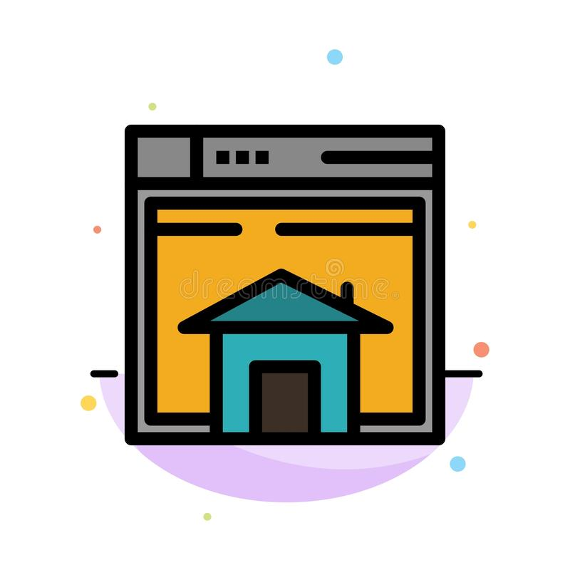 Home, Sell, Web, Layout, Page, Website Abstract Flat Color Icon Template royalty free illustration