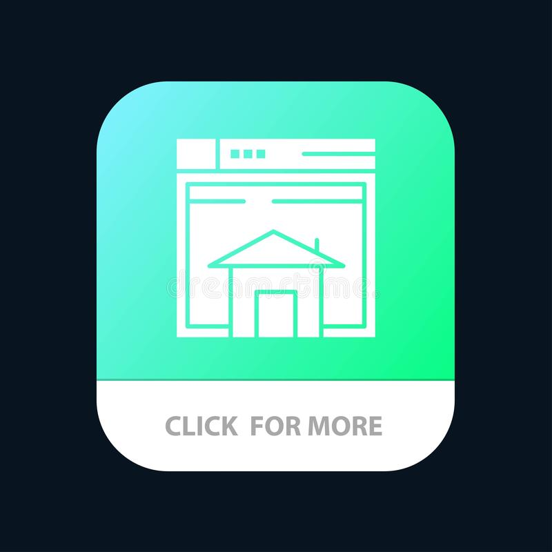Home, Sell, Web, Layout, Page, Website Mobile App Button. Android and IOS Glyph Version royalty free illustration