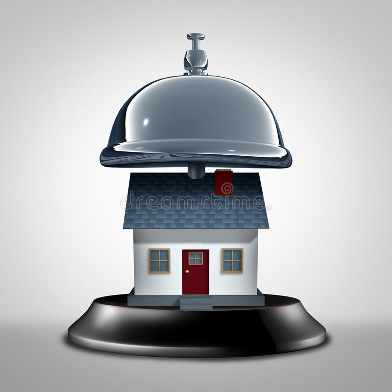 Home Services Symbol. And residential care assistance as a service bell with a house as a maintenance and insurance assistance metaphor as a 3D illustration vector illustration
