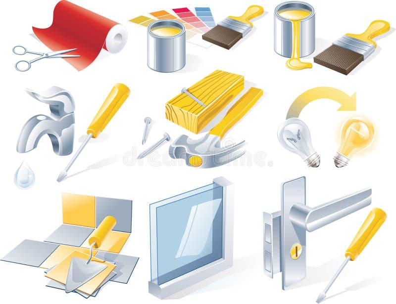 home set vektor för symbolsreparationsservice stock illustrationer
