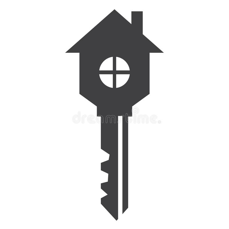 Home in the Shape of Key - Icon -Symbol. stock image