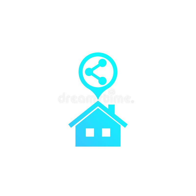 Home sharing vector icon on white royalty free illustration