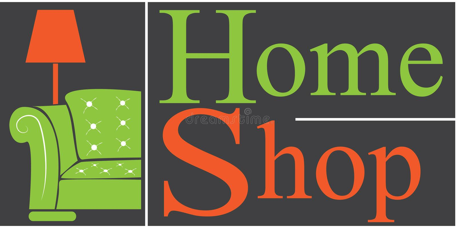 Home shop logo. Vector logo home shop for furniture stock illustration