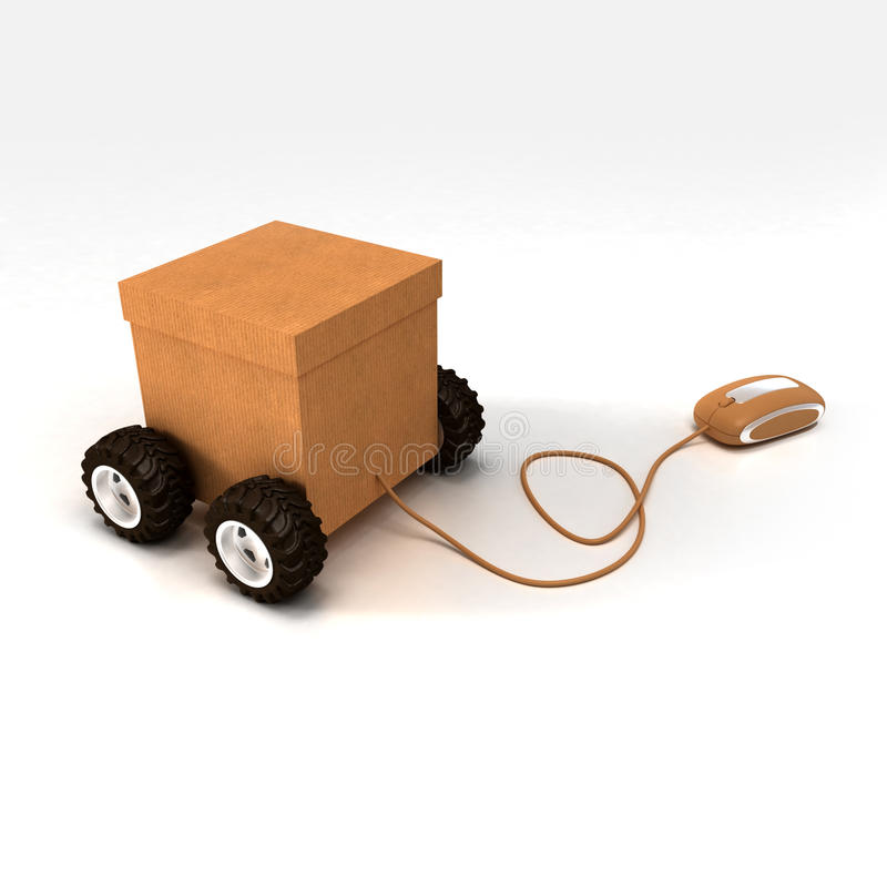 Home shopping. 3D rendering of a cardboard box on wheels connected to a computer mouse royalty free illustration