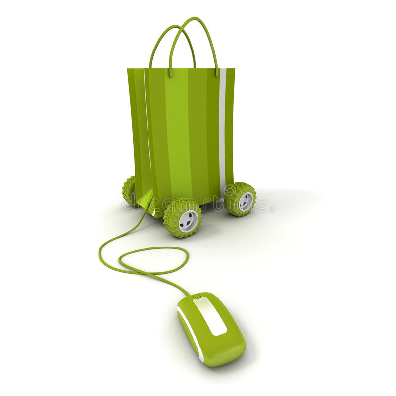 Home shopping in green. Shopping bag on wheels connected to a computer mouse in green shades royalty free illustration