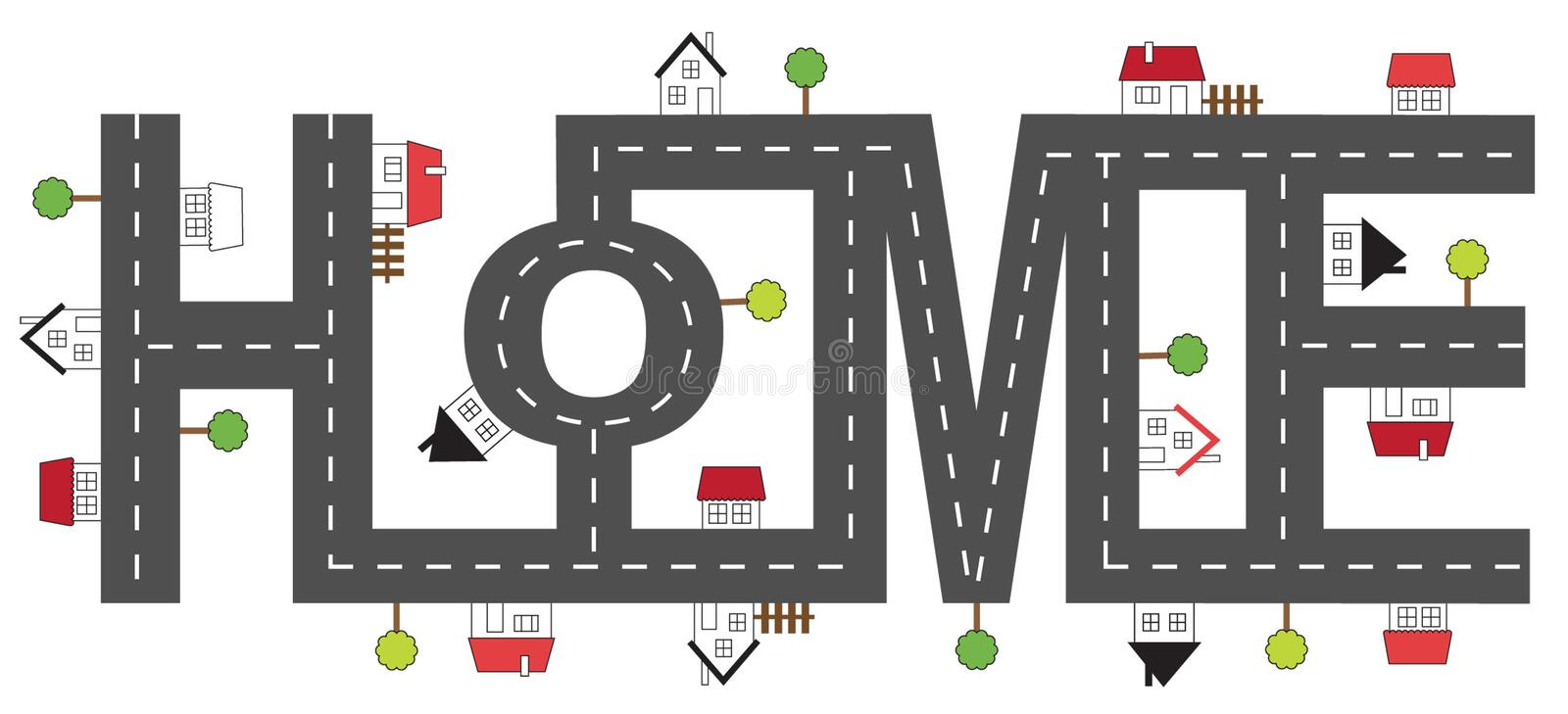 Home sign. Made of hauses royalty free illustration