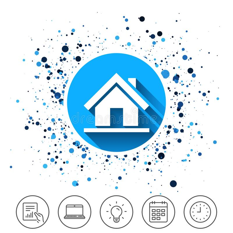 Home sign icon. Main page button. Navigation. Button on circles background. Home sign icon. Main page button. Navigation symbol. Calendar line icon. And more stock illustration