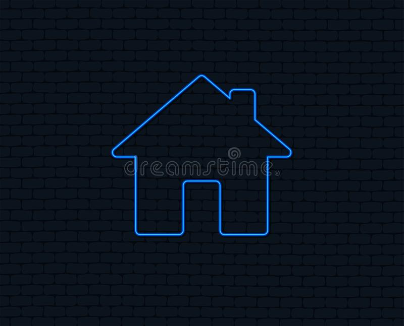 Home sign icon. Main page button. Navigation. Neon light. Home sign icon. Main page button. Navigation symbol. Glowing graphic design. Brick wall. Vector royalty free illustration