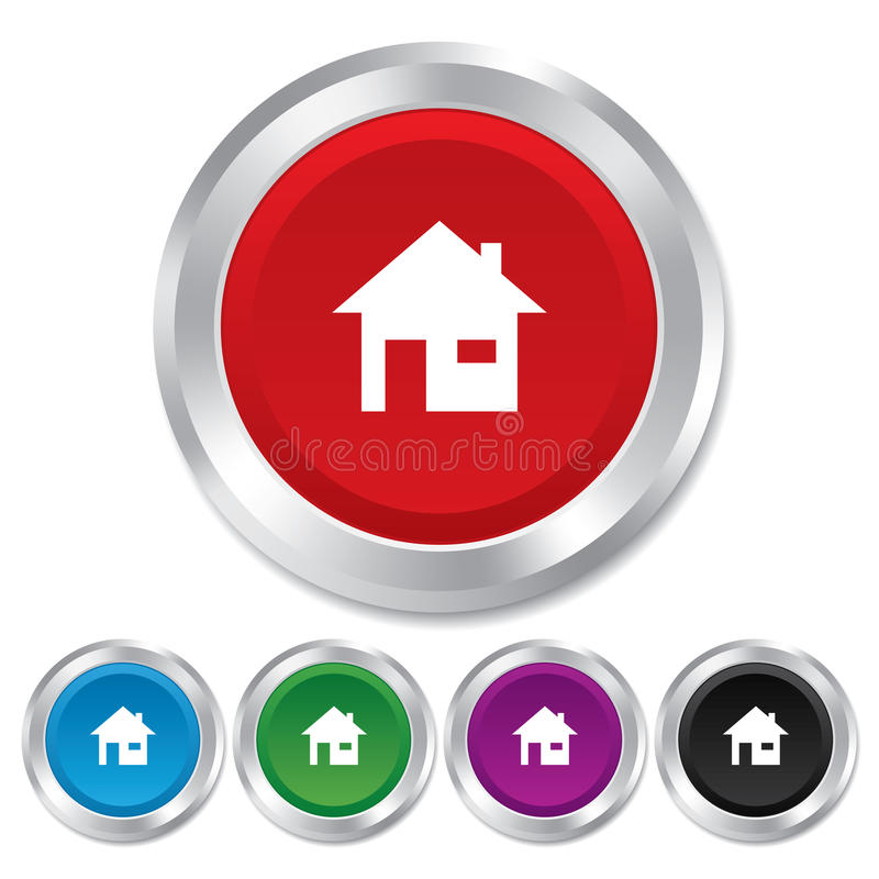 Home sign icon. Main page button. Navigation. Symbol. Round metallic buttons royalty free illustration