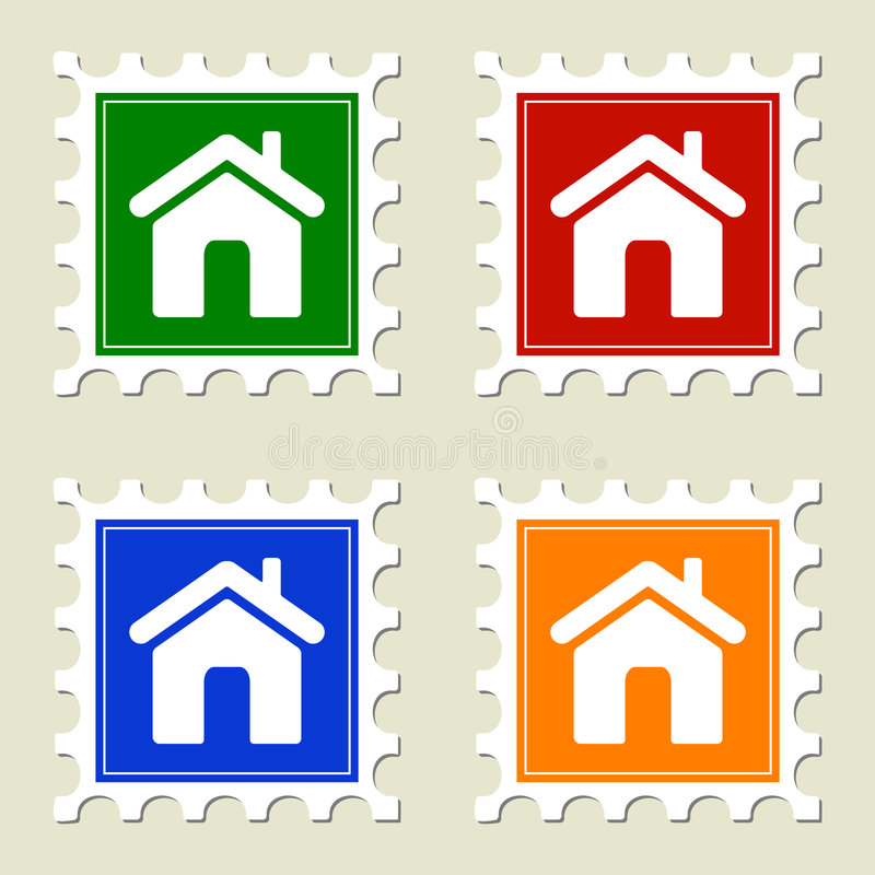 Download Home Sign Stamps stock vector. Image of estate, mail, sticker - 7534323