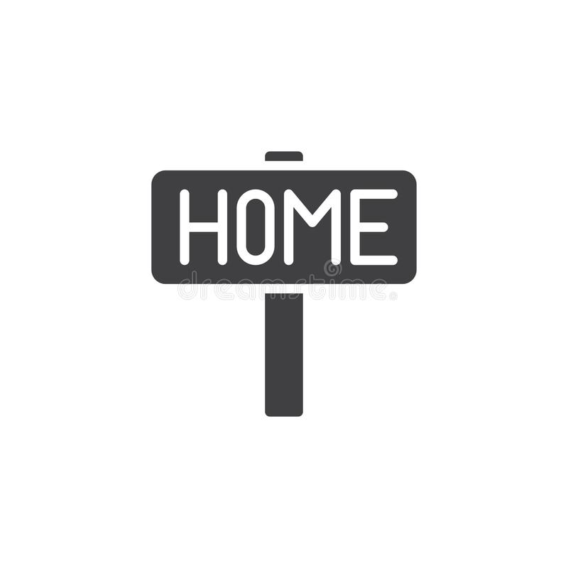Home signpost icon vector. Filled flat sign, solid pictogram isolated on white. Symbol, logo illustration vector illustration