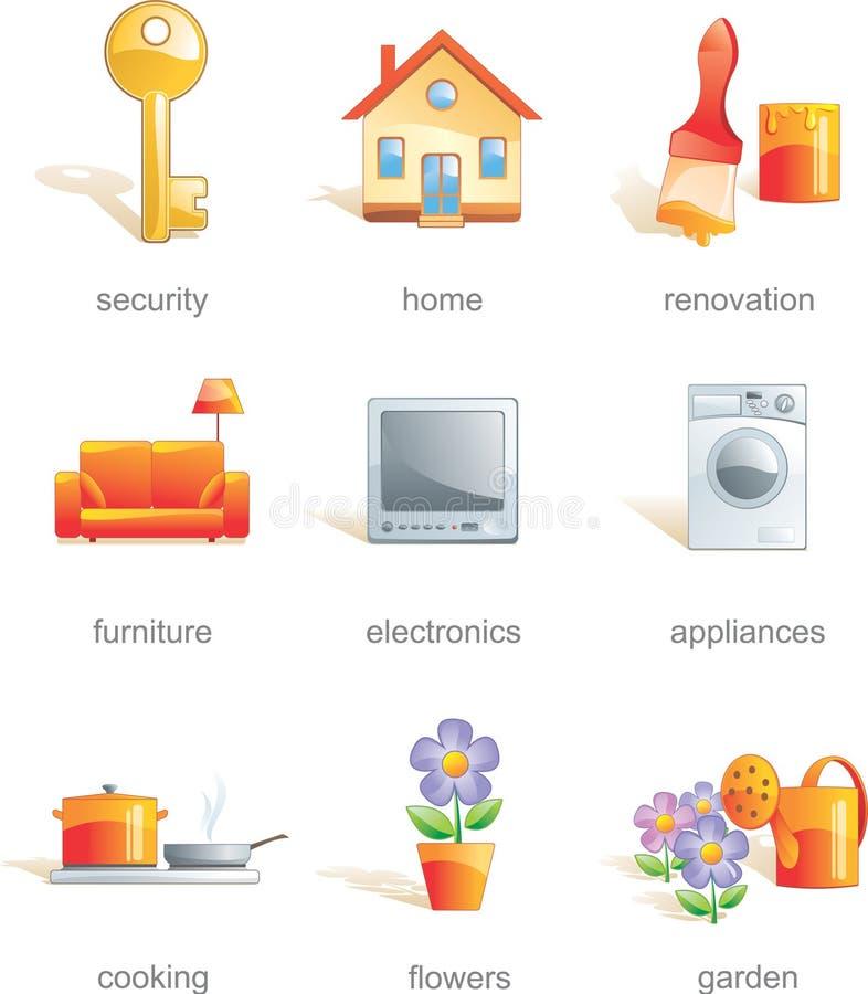 home släkt set för symbol objekt vektor illustrationer