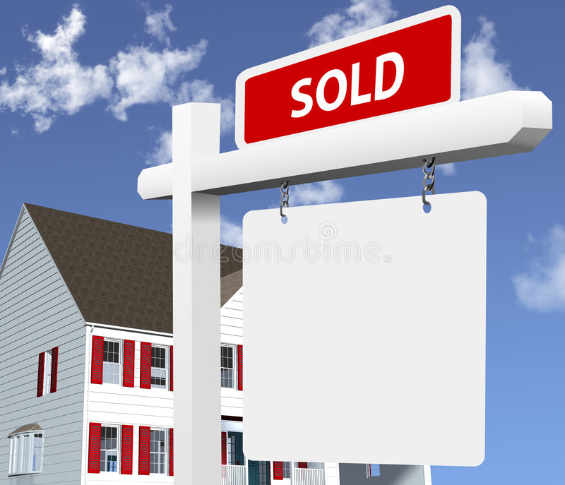 Home sold real estate sign royalty free stock image for Bright illustration agency