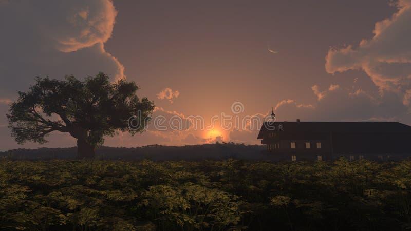 Download Home solnedgång stock illustrationer. Illustration av moon - 27283726