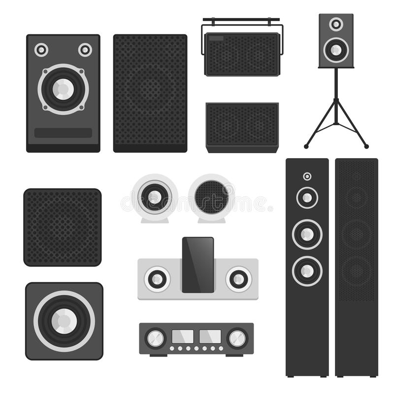 Home Sound System Stereo Flat Vector Music Loudspeakers Player ...