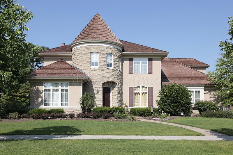 Download Home with stone turret stock image. Image of contemporary - 16476011