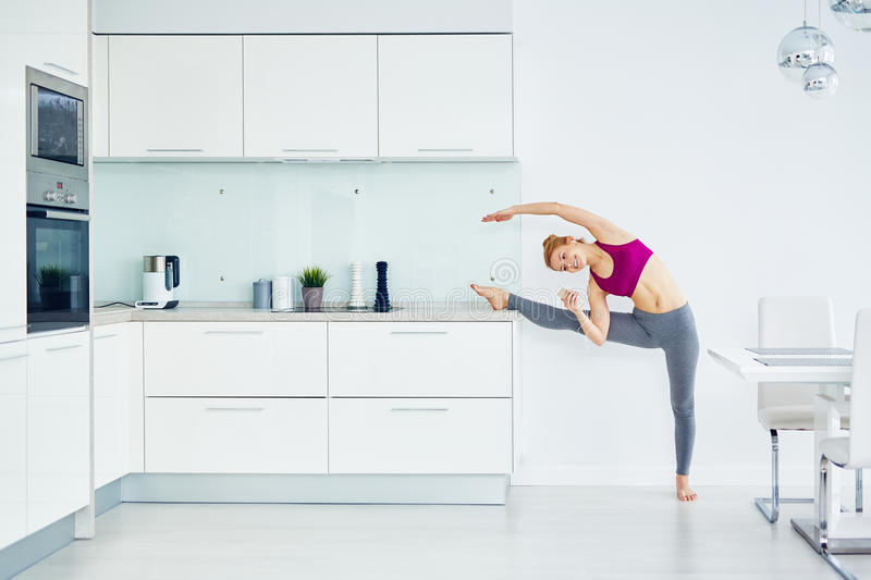In-Home Stretching Workout stock photos