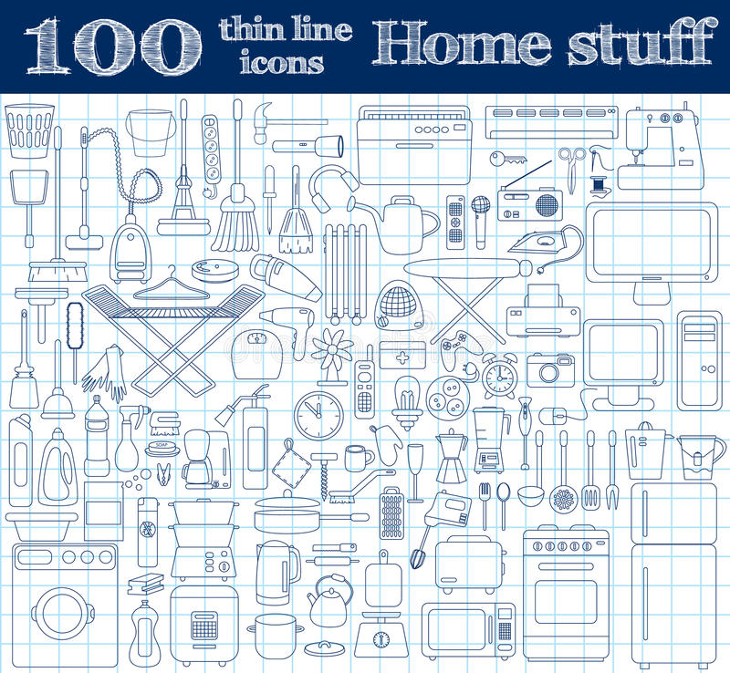 Home stuff icons. Set of 100 thin line objects in blue colors on notebook. Vector illustration vector illustration