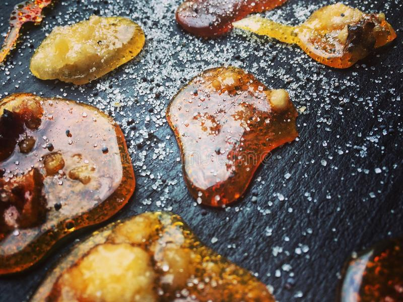 Home sugar caramel fried on pan stock photo