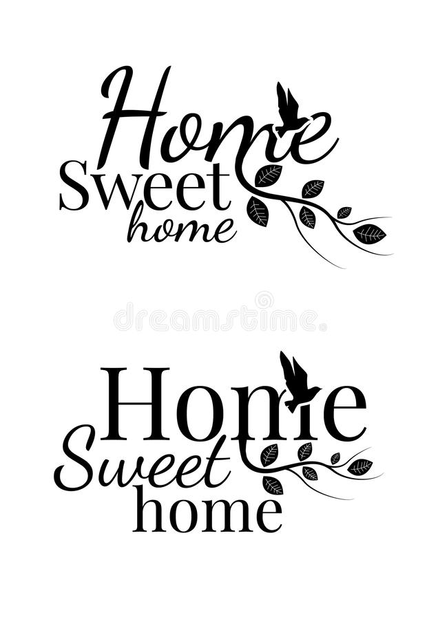 Home Sweet Home, Wall Decals, Wording Design royalty free illustration